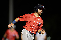 New Hampshire Fisher Cats Vinny Capra (1) running the bases during an Eastern League game against the Trenton Thunder on August 20, 2019 at Arm & Hammer Park in Trenton, New Jersey.  New Hampshire defeated Trenton 7-2.  (Mike Janes/Four Seam Images)