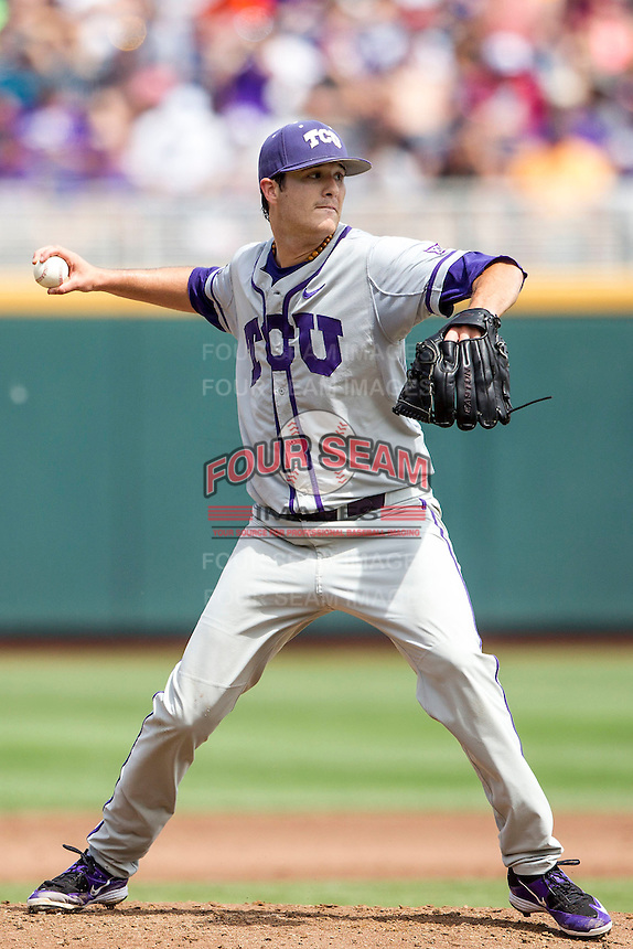 TCU Horned Frogs pitcher Preston Morrison (18) makes a pickoff throw to first base against the LSU Tigers in the NCAA College World Series on June 14, 2015 at TD Ameritrade Park in Omaha, Nebraska. TCU defeated LSU 10-3. (Andrew Woolley/Four Seam Images)