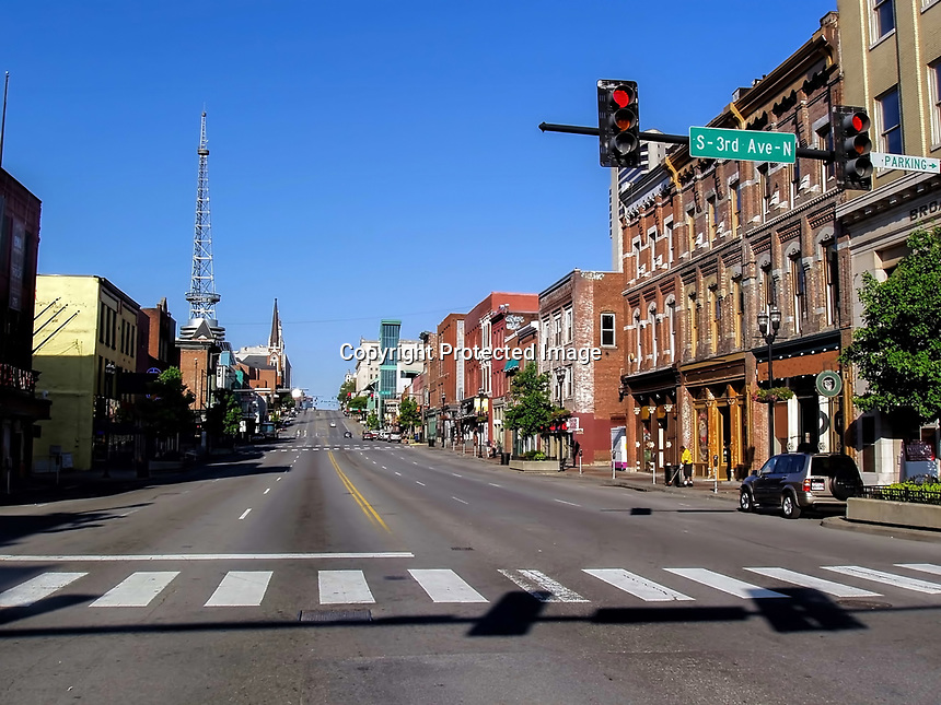 Early Sunday morning on Broadway Street in Nashville, TN.