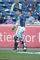 West Michigan Whitecaps catcher Brady Policelli (6) on defense during the game against the South Bend Cubs at Fifth Third Ballpark on June 10, 2018 in Comstock Park, Michigan. The Cubs defeated the Whitecaps 5-4.  (Brian Westerholt/Four Seam Images)