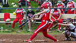 WOLCOTT, CT 051021JS23—Wolcott's Katie Cosmos  (7) rips a two-RBI triple  during their NVL softball game with Torrington Monday at Wolcott High School. Jim Shannon Republican American