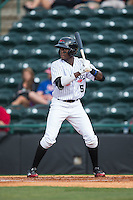 Eric Jenkins (5) of the Hickory Crawdads at bat against the Rome Braves at L.P. Frans Stadium on May 12, 2016 in Hickory, North Carolina.  The Braves defeated the Crawdads 3-0.  (Brian Westerholt/Four Seam Images)