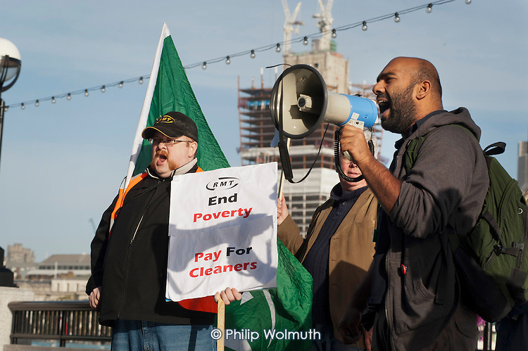 RMT tube cleaners demonstrate for a Living Wage outside the Greater London Assembly.