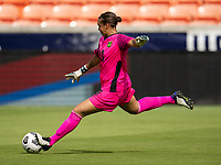 HOUSTON, TX - JUNE 10: Rebecca Spencer #13 of Jamaica punts the ball during a game between Nigeria and Jamaica at BBVA Stadium on June 10, 2021 in Houston, Texas.