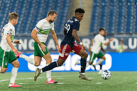 FOXBOROUGH, MA - AUGUST 26: Orlando Sinclair #99 of New England Revolution II on the attack during a game between Greenville Triumph SC and New England Revolution II at Gillette Stadium on August 26, 2020 in Foxborough, Massachusetts.