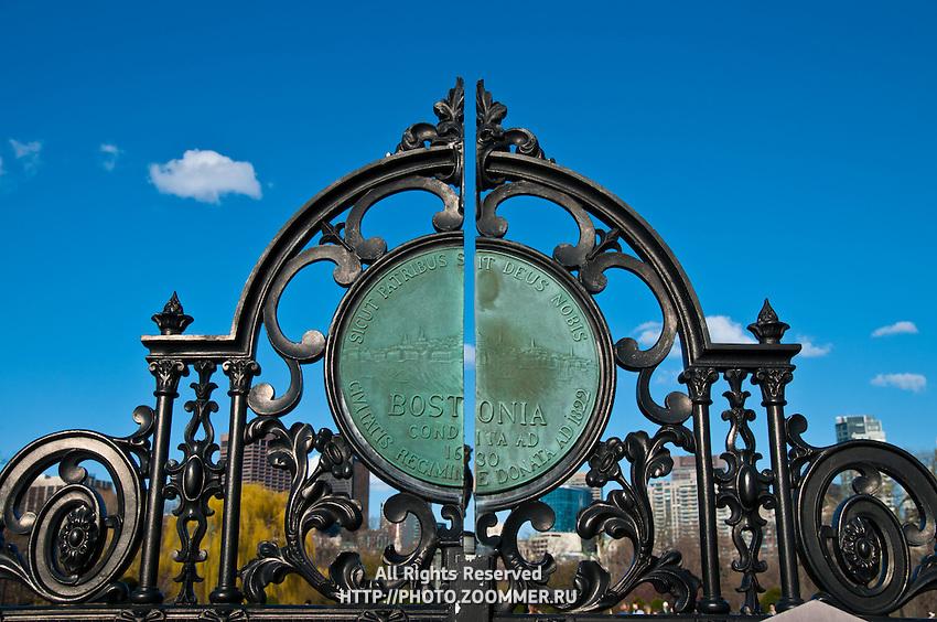 Black forged metal gates of the Boston Public Garden
