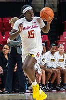 COLLEGE PARK, MD - FEBRUARY 13: Ashley Owusu #15 of Maryland moves up court during a game between Iowa and Maryland at Xfinity Center on February 13, 2020 in College Park, Maryland.