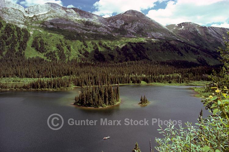 Azouzetta Lake and Rocky Mountains near Chetwynd, BC, British Columbia, Canada - along Hart Highway 97 at Pine Pass, Summer
