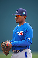 Toronto Blue Jays Juan Kelly (19) during practice before a minor league Spring Training game against the Pittsburgh Pirates on March 24, 2016 at Pirate City in Bradenton, Florida.  (Mike Janes/Four Seam Images)