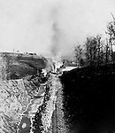 Hopedale OH:  Track construction near the eastern approach to the Hanna Tunnel. The Pittsburgh, Toledo, and Western Railroad Company, owned by the famous George J. Gould,  hired Brady Stewart to document the track and tunnel construction between Hopedale Ohio, and downtown Pittsburgh.