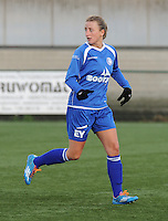 20160116 - ZULTE , BELGIUM : Gent's Marie Schepers  pictured during a soccer match between the women teams of ZULTE-WAREGEM and AA GENT B  , during the fifteenth matchday in the First League - Eerste Nationale season, Saturday 16 January 2016 . PHOTO DIRK VUYLSTEKE