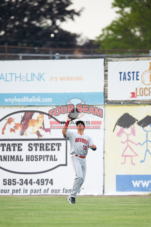 Auburn Doubledays right fielder Kameron Esthay (15) catches a fly ball during a game against the Batavia Muckdogs on July 6, 2017 at Dwyer Stadium in Batavia, New York.  Auburn defeated Batavia 4-3.  (Mike Janes/Four Seam Images)