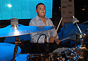 """voz-FoodCityFiestas0919 091407 The drummer from group """"Los Nenes de Sonora"""" (cq) performing at the Food City Fiestas Patrias in Phoenix, on Friday, Sept. 14, 2007.  Photo by AJ Alexander/La Voz"""