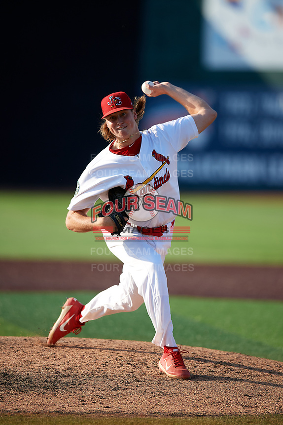 Johnson City Cardinals relief pitcher Evan Sisk (22) delivers a pitch during a game against the Danville Braves on July 29, 2018 at TVA Credit Union Ballpark in Johnson City, Tennessee.  Johnson City defeated Danville 8-1.  (Mike Janes/Four Seam Images)