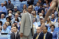 CHAPEL HILL, NC - MARCH 03: Head coach Danny Manning of Wake Forest University during a game between Wake Forest and North Carolina at Dean E. Smith Center on March 03, 2020 in Chapel Hill, North Carolina.