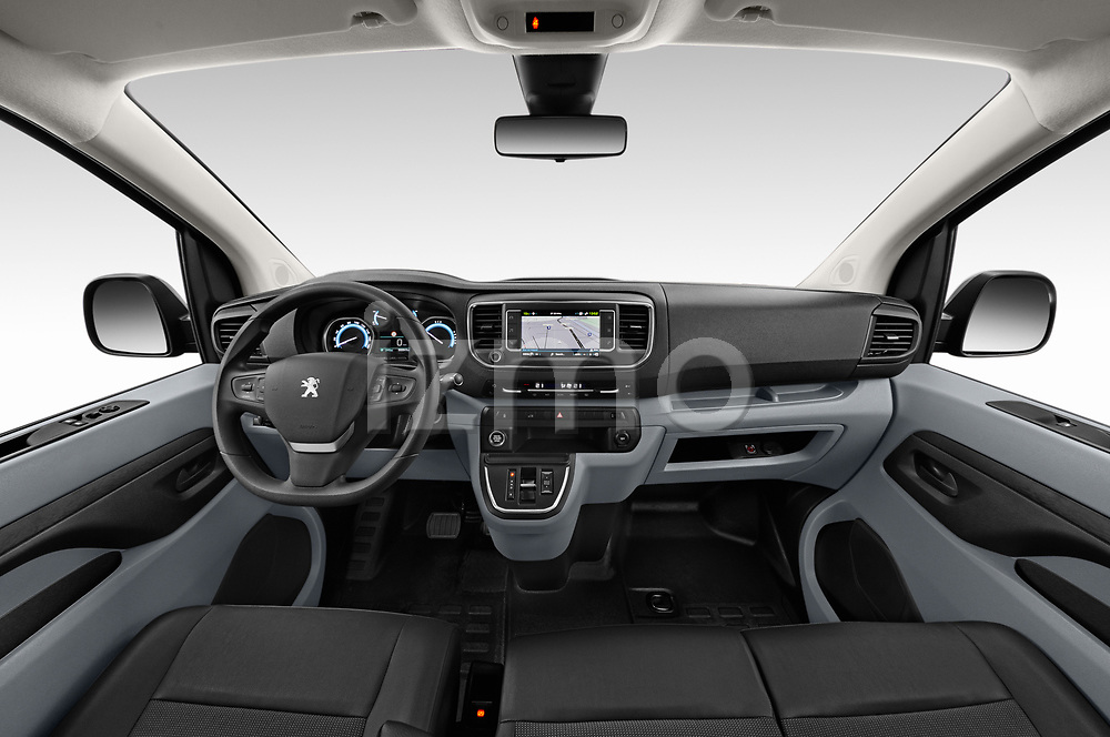 Stock photo of straight dashboard view of 2020 Peugeot e-Expert FT-Premium 5 Door Cargo Van Dashboard