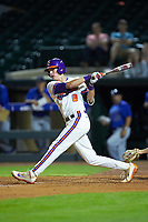 Logan Davidson (8) of the Clemson Tigers follows through on his swing against the Duke Blue Devils in Game Three of the 2017 ACC Baseball Championship at Louisville Slugger Field on May 23, 2017 in Louisville, Kentucky. The Blue Devils defeated the Tigers 6-3. (Brian Westerholt/Four Seam Images)