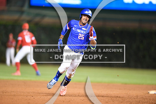 Nander De Sedas (25) of Montverde High School in Montverde, Florida during the Under Armour All-American Game presented by Baseball Factory on July 29, 2017 at Wrigley Field in Chicago, Illinois.  (Mike Janes/Four Seam Images)
