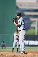 AZL Indians relief pitcher Jordan Scheftz (56) gets ready to deliver a pitch during a game against the AZL Angels on August 7, 2017 at Tempe Diablo Stadium in Tempe, Arizona. AZL Indians defeated the AZL Angels 5-3. (Zachary Lucy/Four Seam Images)
