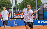 Amstelveen, Netherlands, 1 August 2020, NTC, National Tennis Center, National Tennis Championships, Men's Doubles final: Sander Arends and David Pel (NED) (R)<br /> Photo: Henk Koster/tennisimages.com
