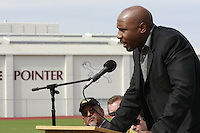 NFL Player and former Point Loma High Pointer, JJ Stokes speaks during a Memorial service held for Coach Bennie Eden at the Point Loma High School Football stadium that was recently renamed in his honor, Saturday February 23 2008.