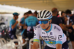 Kazakh Champion Alexey Lutsenko (KAZ) Astana-Premier Tech at sign on before the start of Stage 3 of the 2021 UAE Tour running 166km from Al Ain to Jebel Hafeet, Abu Dhabi, UAE. 23rd February 2021.  <br /> Picture: Eoin Clarke | Cyclefile<br /> <br /> All photos usage must carry mandatory copyright credit (© Cyclefile | Eoin Clarke)