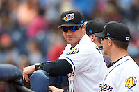 Akron RubberDucks manager Dave Wallace (17) in the dugout during a game against the New Britain Rock Cats on May 21, 2015 at Canal Park in Akron, Ohio.  Akron defeated New Britain 4-2.  (Mike Janes/Four Seam Images)