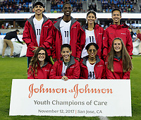San Jose, CA - Sunday November 12, 2017: Johnson & Johnson Youth Champions of Care during an International friendly match between the Women's National teams of the United States (USA) and Canada (CAN) at Avaya Stadium.