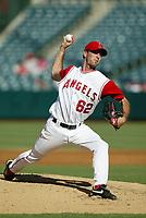 Scot Shields of the Anaheim Angels during a 2003 season MLB game at Angel Stadium in Anaheim, California. (Larry Goren/Four Seam Images)
