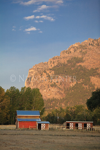 Red barn and mountains in the Bitterroot Valley of Montana