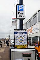 Ticket machine where you book time through a mobile phone, Esplanade car park, Portsmouth, Hampshire.