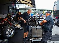 May 5, 2018; Commerce, GA, USA; Crew members for NHRA funny car driver Jonnie Lindberg during qualifying for the Southern Nationals at Atlanta Dragway. Mandatory Credit: Mark J. Rebilas-USA TODAY Sports