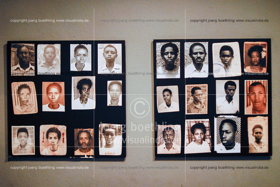 RWANDA Kigali, Genocide memorial, during the genocide in april 1994 nearly one Billion Tutsi were killed by Hutu murder, historical images of murdered Tutsi / RUANDA Kigali , Genozid Gedaenkstaette, Ausstellung und Mahnmal fuer die Opfer des Genozid  , waehrend des Voelkermord wurden ca. eine Million Tutsi im April 1994 von Hutu Milizen ermordet , historische Fotos von ermordeten Tutsi