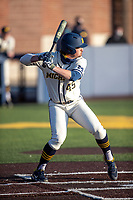 Michigan Wolverines pinch hitter Logan Pollack (45) at bat during the NCAA baseball game against the Illinois Fighting Illini at Fisher Stadium on March 19, 2021 in Ann Arbor, Michigan. Illinois won the game 7-4. (Andrew Woolley/Four Seam Images)