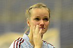 Berlin, Germany, January 31: Jana Teschke #4 of Uhlenhorster HC looks disappointed after losing the 1. Bundesliga Damen Hallensaison 2014/15 semi-final hockey match between Uhlenhorster HC (light blue) and Duesseldorfer HC (dark blue) on January 31, 2015 at the Final Four tournament at Max-Schmeling-Halle in Berlin, Germany. Final score 4-7 (1-3). (Photo by Dirk Markgraf / www.265-images.com) *** Local caption ***