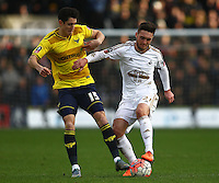 Callum O'Dowda of Oxford United and Matt Grimes of Swansea   during the Emirates FA Cup 3rd Round between Oxford United v Swansea     played at Kassam Stadium  on 10th January 2016 in Oxford