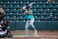 Kellen Strahm (33) of the Llamas de Hickory at bat against the Winston-Salem Rayados at Truist Stadium on July 6, 2021 in Winston-Salem, North Carolina. (Brian Westerholt/Four Seam Images)