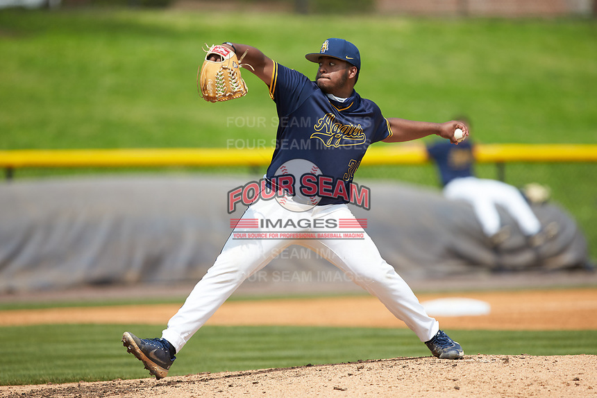 North Carolina A&T Aggies starting pitcher Derek Martinez (34) in action against the North Carolina Central Eagles at Durham Athletic Park on April 10, 2021 in Durham, North Carolina. (Brian Westerholt/Four Seam Images)