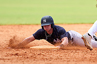 FCL Yankees Grant Richardson (50) slides into second base during a game against the FCL Tigers West on July 31, 2021 at Tigertown in Lakeland, Florida.  (Mike Janes/Four Seam Images)