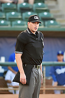 Home plate umpire Aaron Higgins prior to the game against the Missoula Osprey and the Ogden Raptors on August 4, 2014 at Lindquist Field in Ogden, Utah. (Stephen Smith/Four Seam Images)
