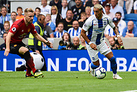Anthony Knockaert of Brighton & Hove Albion (11)  during the Premier League match between Brighton and Hove Albion and Manchester United at the American Express Community Stadium, Brighton and Hove, England on 19 August 2018. Photo by Edward Thomas / PRiME Media Images.
