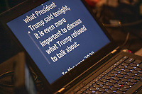 """A computer controlling the TelePrompTer displays a portion of the speech reading """"it is even more important to discuss what Trump refused to talk about,"""" as Democratic presidential candidate and Vermont senator Bernie Sanders delivers his response to President Donald Trump's State of the Union address earlier that night at The Currier Museum of Art in Manchester, New Hampshire, on Tue., Feb. 4, 2020. Sanders' speech began, """"Tonight, we just listened to Donald Trump's third, and what I believe will be his very last, State of the Union Address."""""""