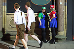 © Joel Goodman - 07973 332324 . 27/12/2016 . Wigan , UK . Super Mario Sisters . Revellers in Wigan enjoy Boxing Day drinks and clubbing in Wigan Wallgate . In recent years a tradition has been established in which people go out wearing fancy-dress costumes on Boxing Day night . Photo credit : Joel Goodman