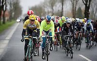 Sep Vanmarcke (BEL/LottoNL-Jumbo) & Peter Sagan (SVK/Tinkoff-Saxo) show themselves at the front of the peloton/echelon<br /> <br /> 77th Gent-Wevelgem 2015