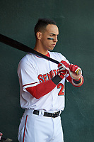 Harrisburg Senators designated hitter Neftali Soto (21) watches the pitcher from the dugout during a game against the Bowie Baysox on May 16, 2017 at FNB Field in Harrisburg, Pennsylvania.  Bowie defeated Harrisburg 6-4.  (Mike Janes/Four Seam Images)