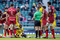 22nd May 2021; Twickenham, London, England; European Rugby Champions Cup Final, La Rochelle versus Toulouse; Ihaia West of La Rochelle gets a yellow card, which is later upgraded to a red card on TMO