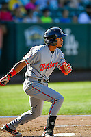 Gabriel Ovalle (17) of the Billings Mustangs at bat against the Ogden Raptors in Pioneer League action at Lindquist Field on August 14, 2016 in Ogden, Utah. Ogden defeated Billings 15-9. (Stephen Smith/Four Seam Images)