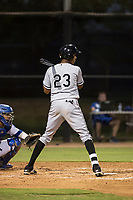 AZL White Sox right fielder Anderson Comas (23) at bat during an Arizona League game against the AZL Dodgers at Camelback Ranch on July 7, 2018 in Glendale, Arizona. The AZL Dodgers defeated the AZL White Sox by a score of 10-5. (Zachary Lucy/Four Seam Images)