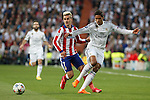 Real Madrid's Raphael Varane (R) and Atletico del Madrid´s Griezmann during quarterfinal second leg Champions League soccer match at Santiago Bernabeu stadium in Madrid, Spain. April 22, 2015. (ALTERPHOTOS/Victor Blanco)