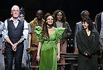 Patrick Page, Amber Gray and Eve Noblezada during Broadway Opening Night Performance Curtain Call for 'Hadestown' at the Walter Kerr Theatre on April 17, 2019 in New York City.